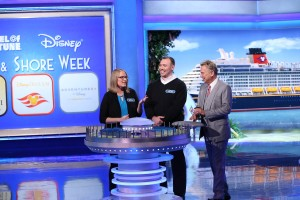 "Melanie and Jer with ""Wheel of Fortune"" host Pat Sajak in the bonus round. The couple was unable to solve the bonus round puzzle of ""Heroic Journey,"" which would have added $33,000 to their winnings of $20,223 worth of cash and prizes, including a Caribbean cruise."