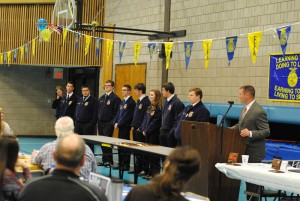 Brian Lowry, FFA advisor and agriculture instructor, recognizes senior members.