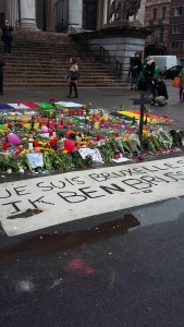 A memorial for victims of the terrorist attacks in Brussels, Belgium.