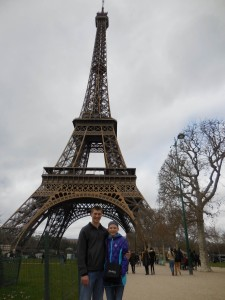 Tyler and Megan in front of the Eiffel Tower in Paris.