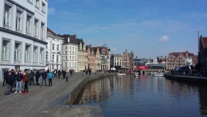 The view in Graslei, Ghent, Belgium.