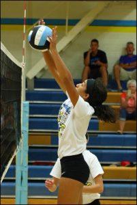 Jataya Meyer blocks at the net during the Gatorade scrimmage.