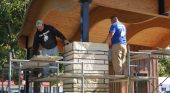 Stonework install nearly complete at Sully Central Park stage/shelter